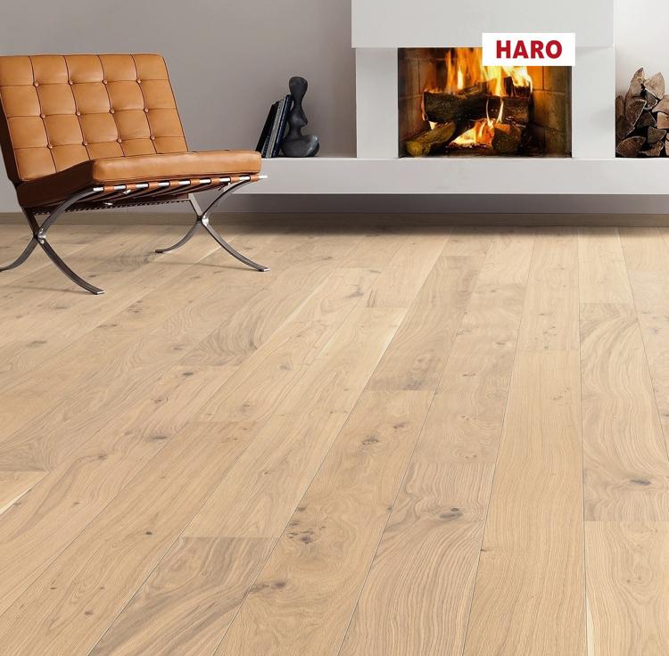 Pilt Parkett HARO 2500 Plank TAMM puro white Universal 2V naturaLin+